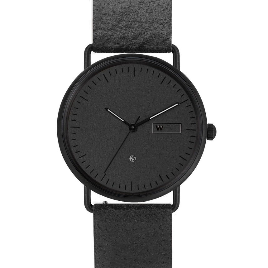 Steel & Wood Watch | Woodz Ox Black (Pinatex Charcoal Strap)