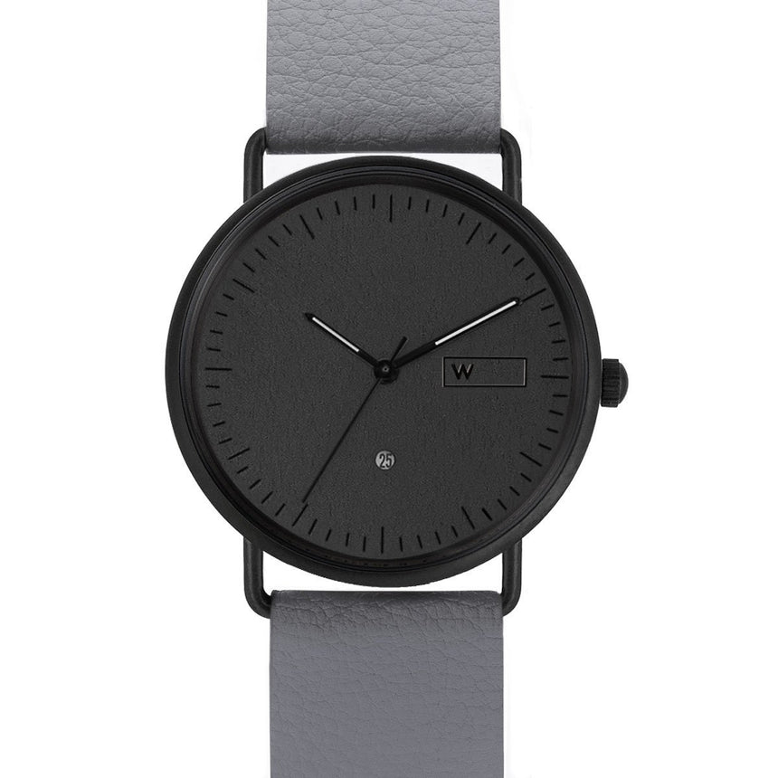 Steel & Wood Watch | Ox Black (Pinatex Gray Strap)