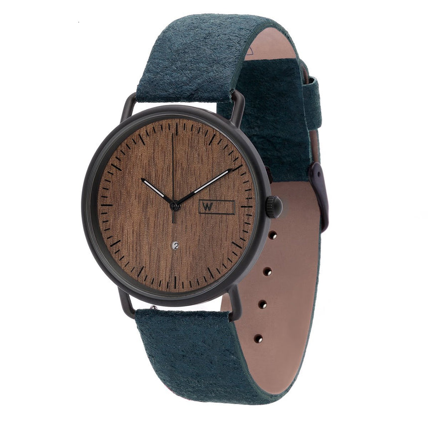 Steel & Wood Watch | Woodz Ox Nut (Pinatex Marine Strap)