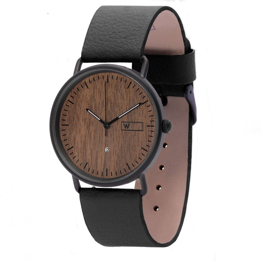 Steel & Wood Watch | Ox Nut (Pinatex Black Strap)