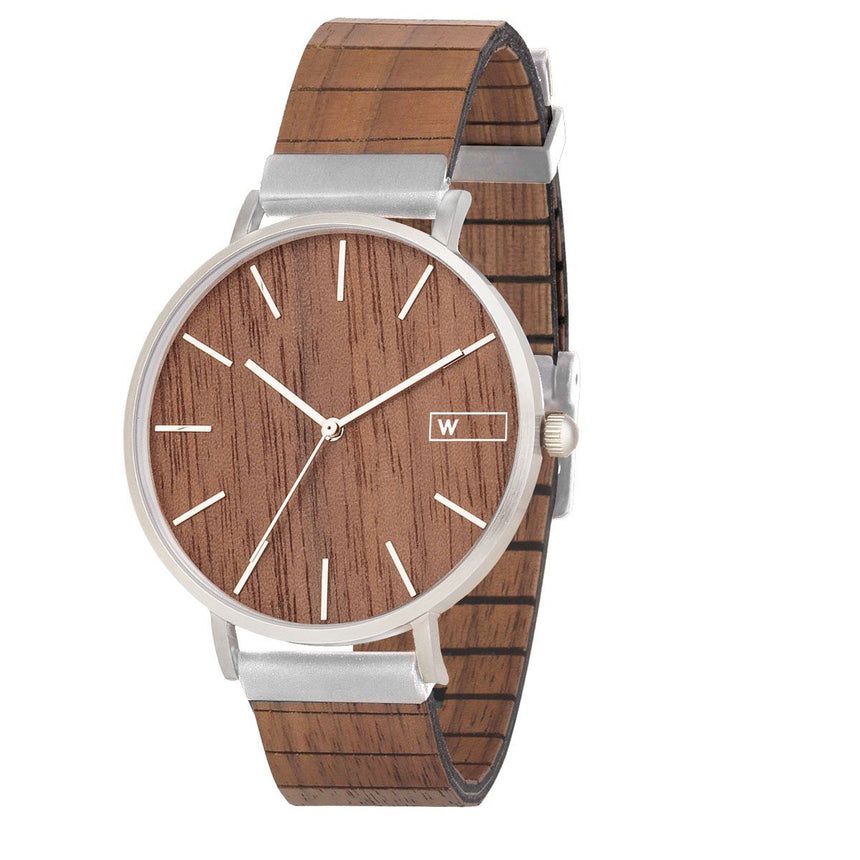 Steel & Wood Watch | Woodz Moon Silver Nut (Walnut Wood Strap)