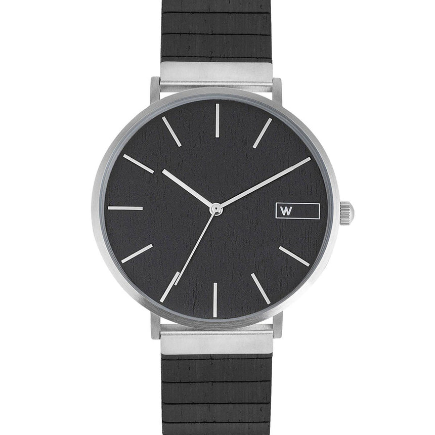 Steel & Wood Watch | Woodz Moon Silver Black (Ebony Wood Strap)
