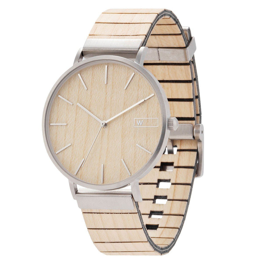 Steel & Wood Watch | Woodz Moon Silver Natura (Maple Wood Strap)