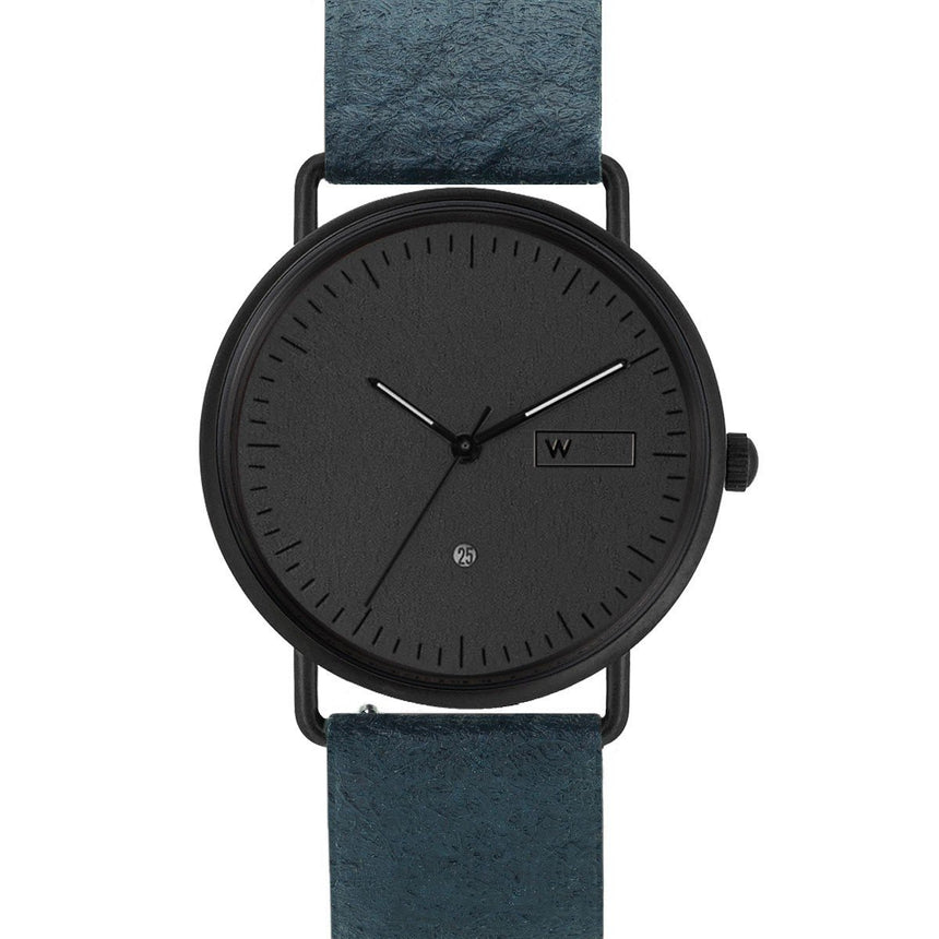 Steel & Wood Watch | Woodz Ox Black (Pinatex Marine Strap)