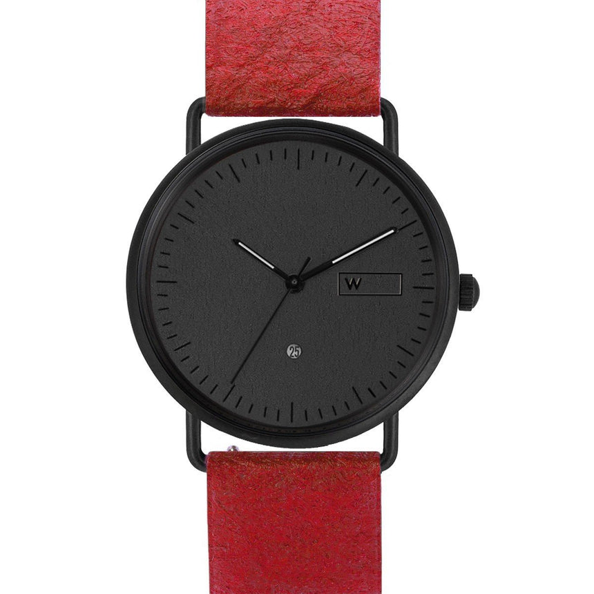 Steel & Wood Watch | Woodz Ox Black (Pinatex Paprika Strap)