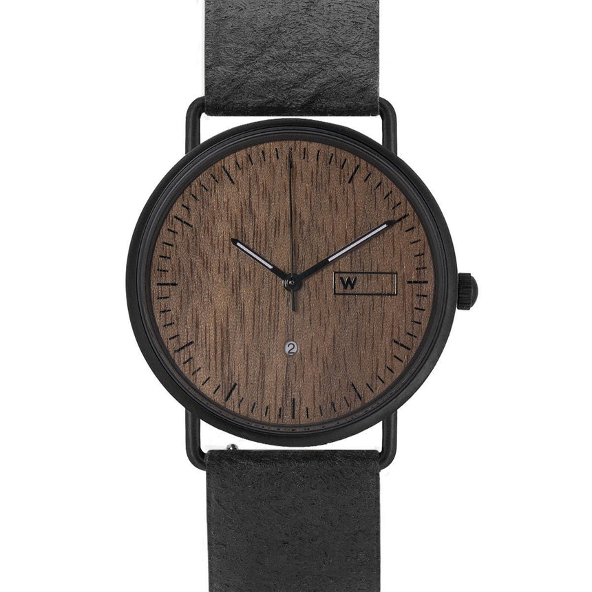 Steel & Wood Watch | Woodz Ox Nut (Pinatex Charcoal Strap)