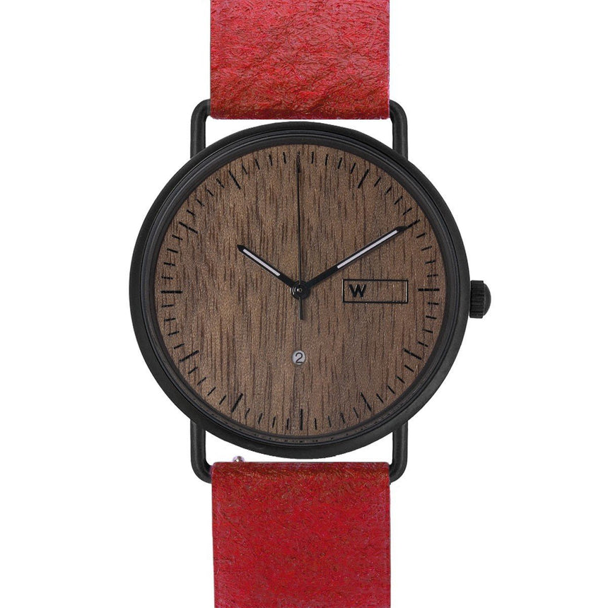 Steel & Wood Watch | Woodz Ox Nut (Pinatex Paprika Strap)