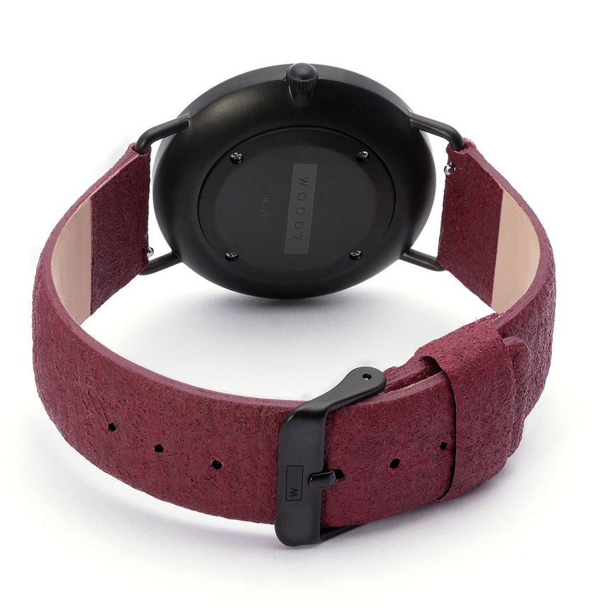 Steel & Wood Watch | Woodz Ox Black (Pinatex Mulberry Strap)