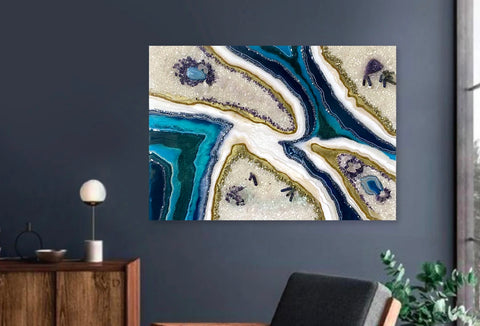 Abstract geode resin wall arts using natural stones