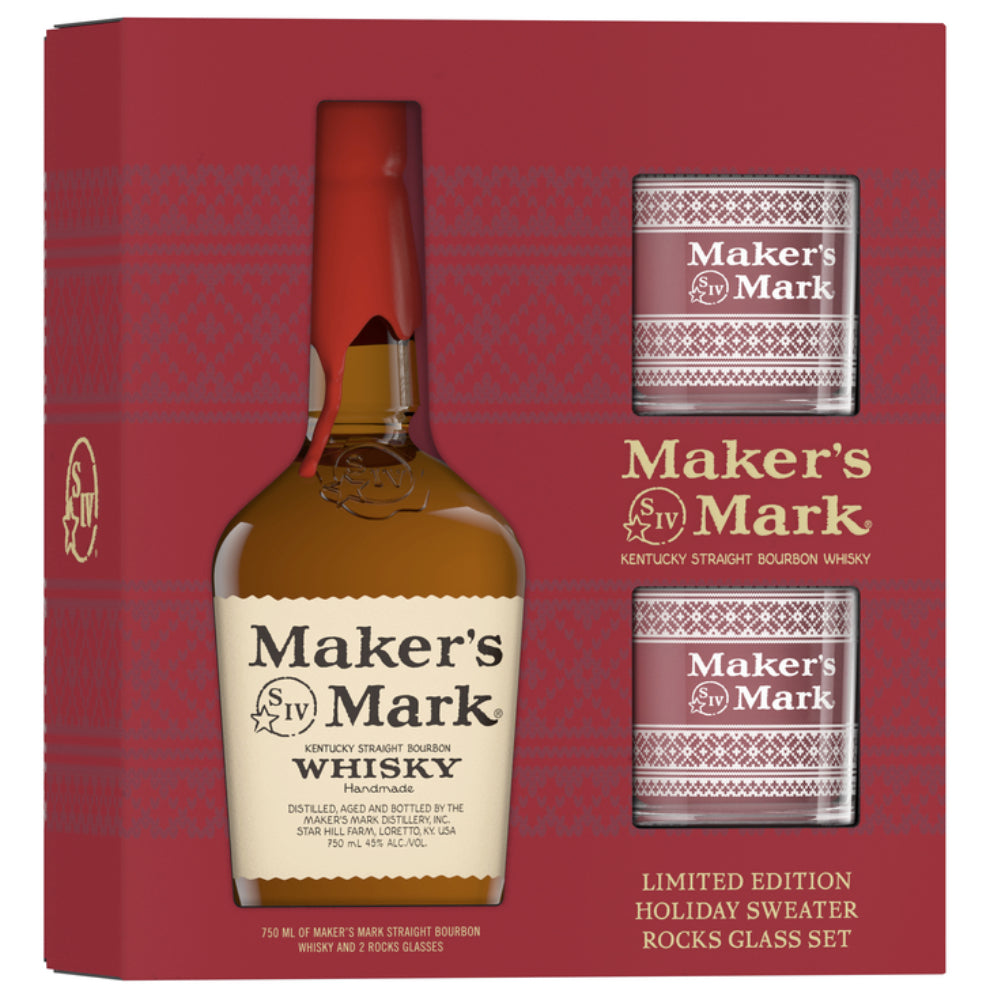 Maker's Mark Limited Edition Holiday Sweater Rocks Glass Set