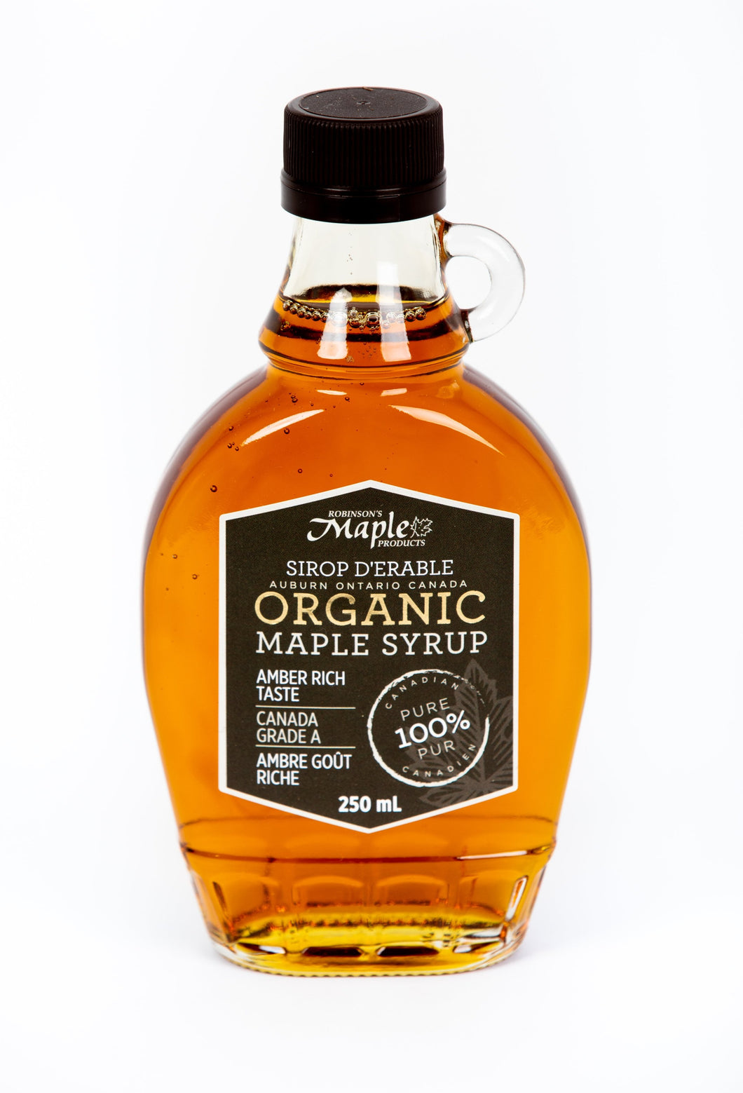 250 mL Glass Organic Amber Maple Syrup