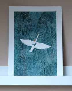 The Swan A3 Print by Fleck Illustration at Albert & Moo
