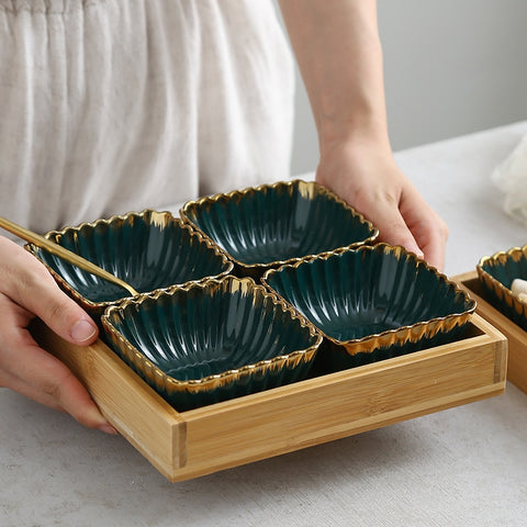 Green gold rim Ceramic Dish