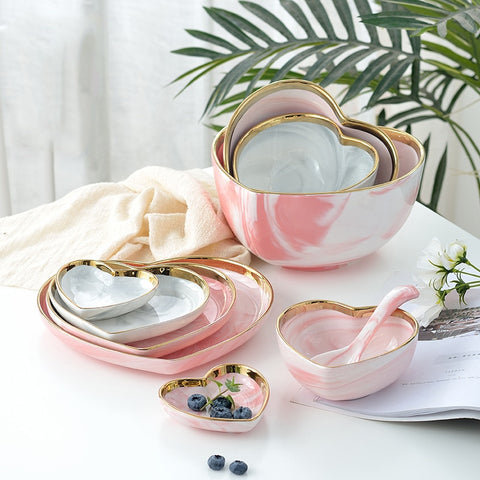 Heart shape Marble Plates Dinner Set