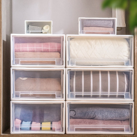 Transparent plastic drawer-style wardrobe