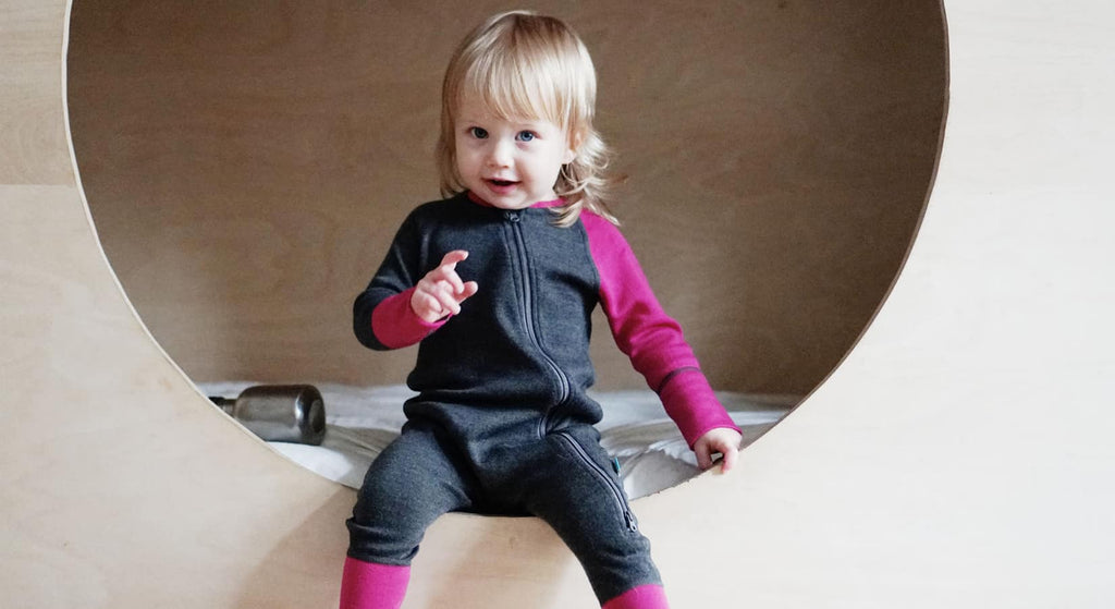 Merino wool baby jumpsuit MJORN is the perfect first layer