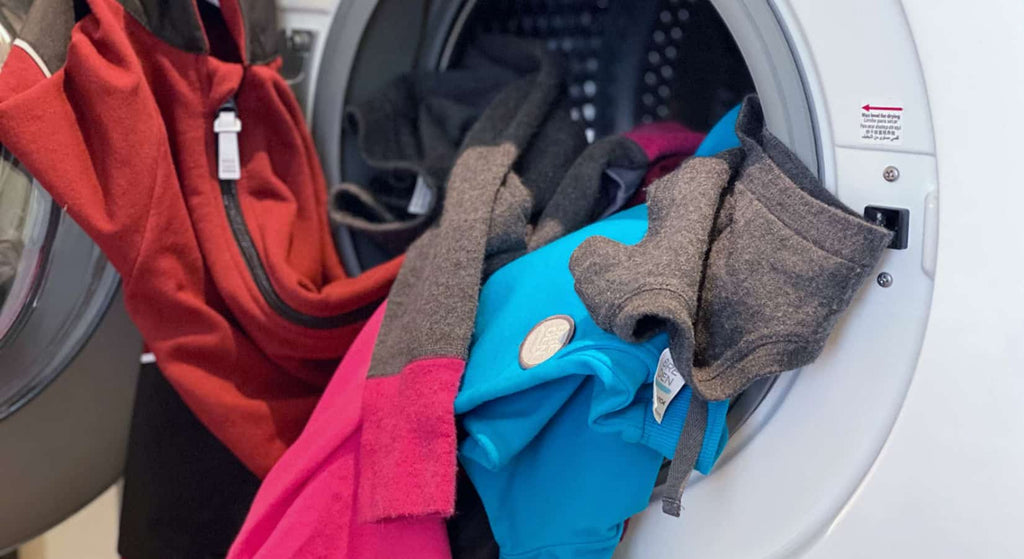 Merino and cotton clothes in a washing machine