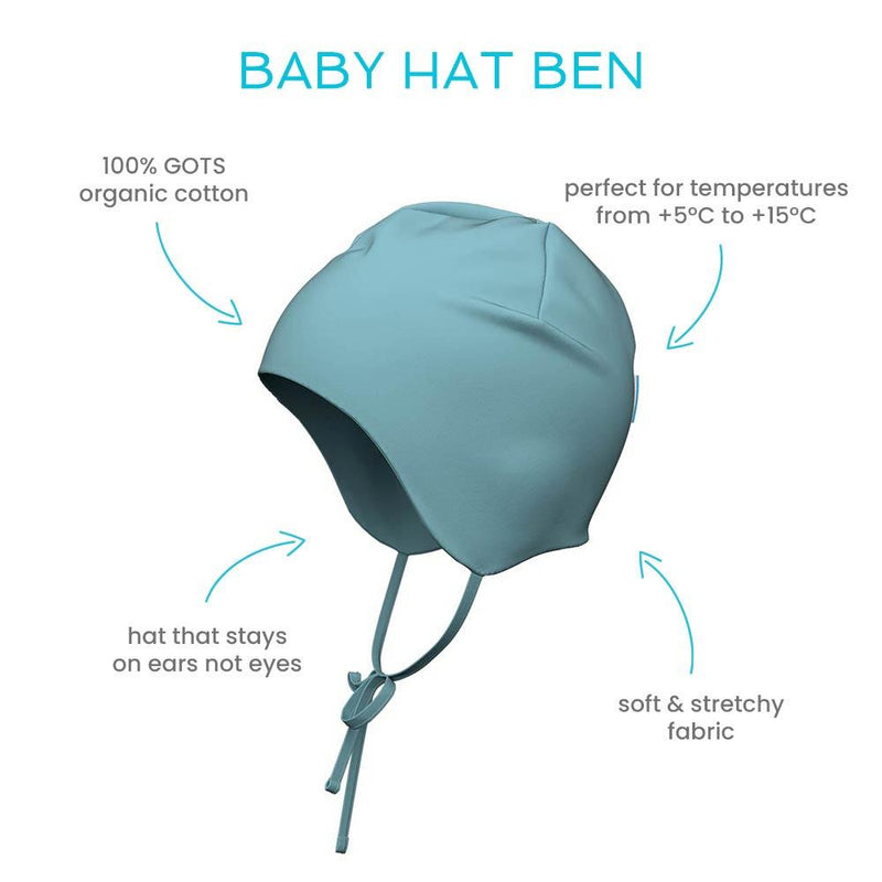 Ben baby organic cotton hat with straps ears stay covered
