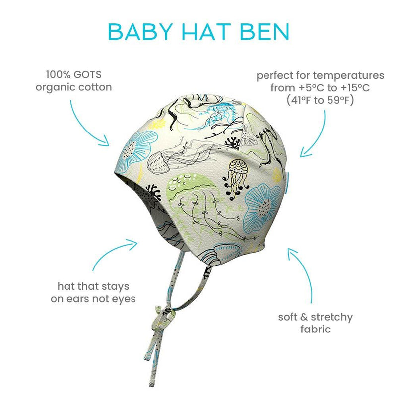 Ben baby cotton hat with straps
