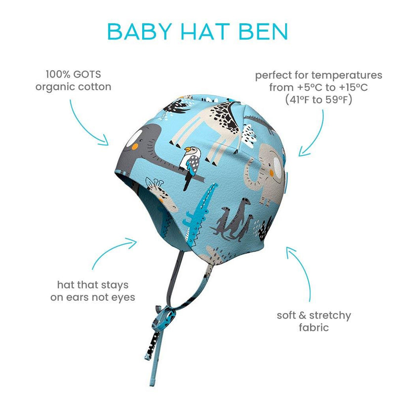 Ben organic cotton baby hat with straps