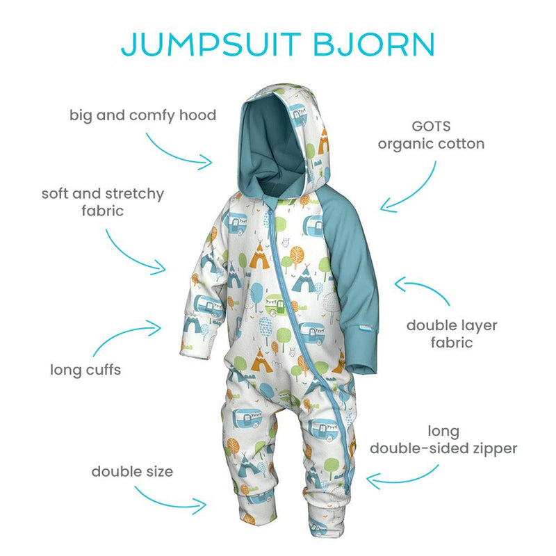 Bjorn baby organic cotton jumpsuit with hood