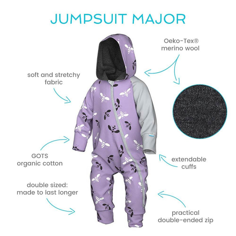 Major baby merino wool lined jumpsuit with hood