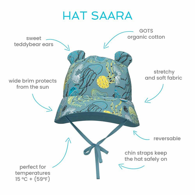 Saara cute cotton summer hat reversable with straps
