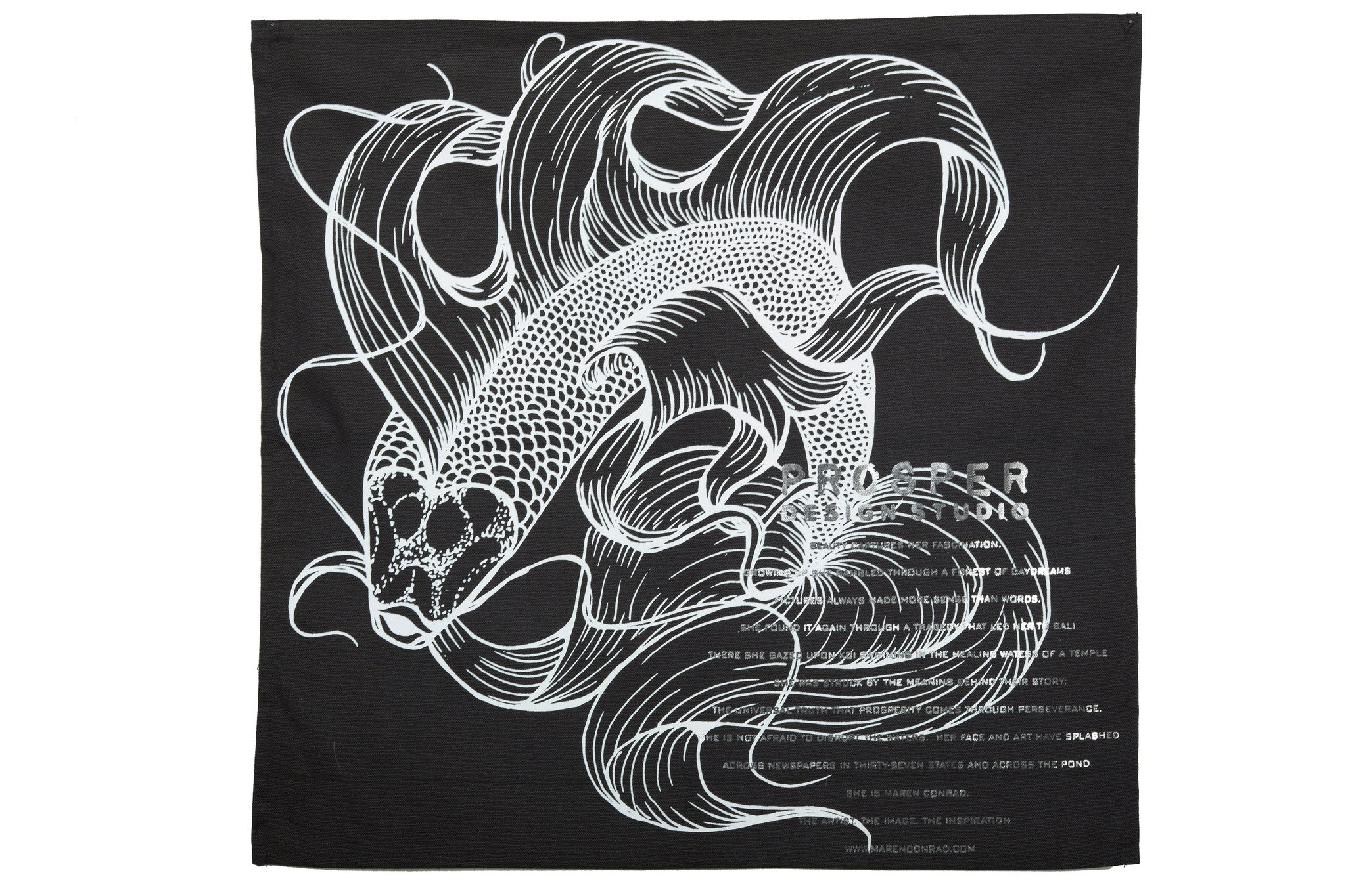 Black Koi Fish Tea Towel