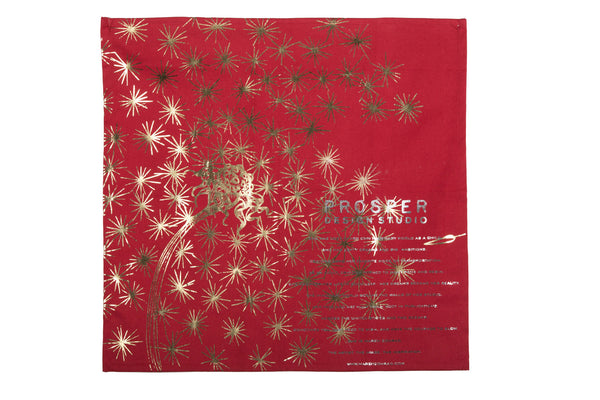 Red Dandelion Tea Towel