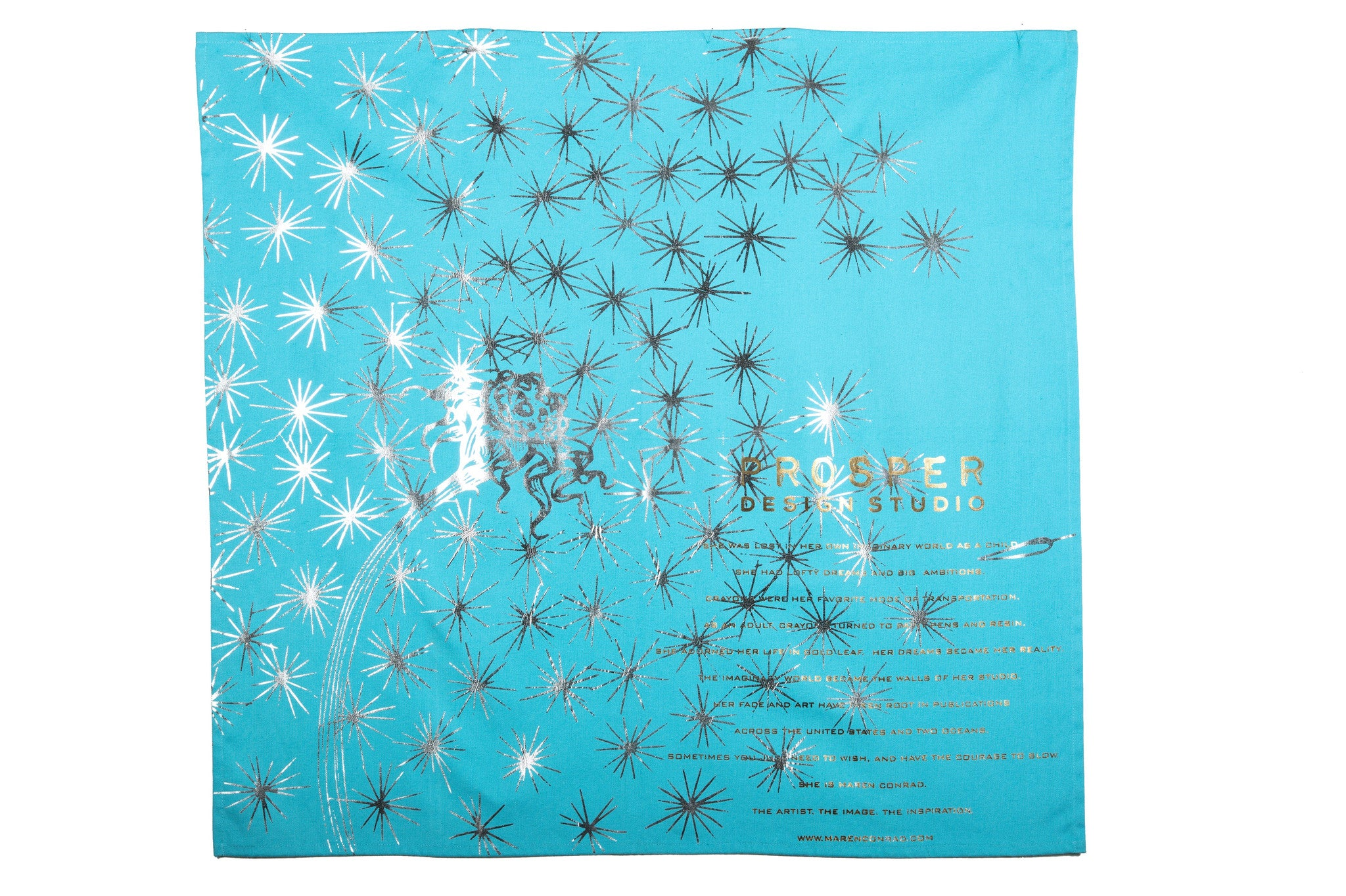 Aqua Dandelion Tea Towel