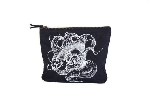 Prosperity Double Sided Koi Fish Zipper Pouch