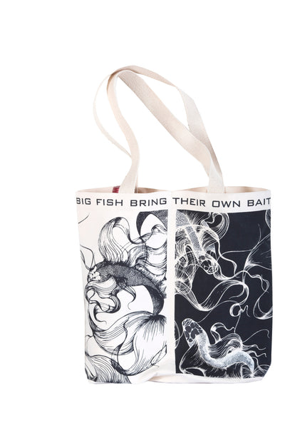 """Big Fish Bring Their Own Bait"" Double Wine or Market Tote"