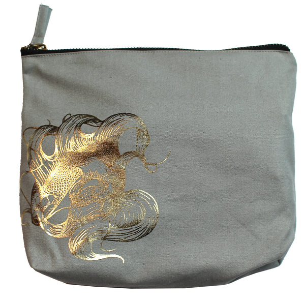 Prosperity Gold Koi Gray Zipper Pouch