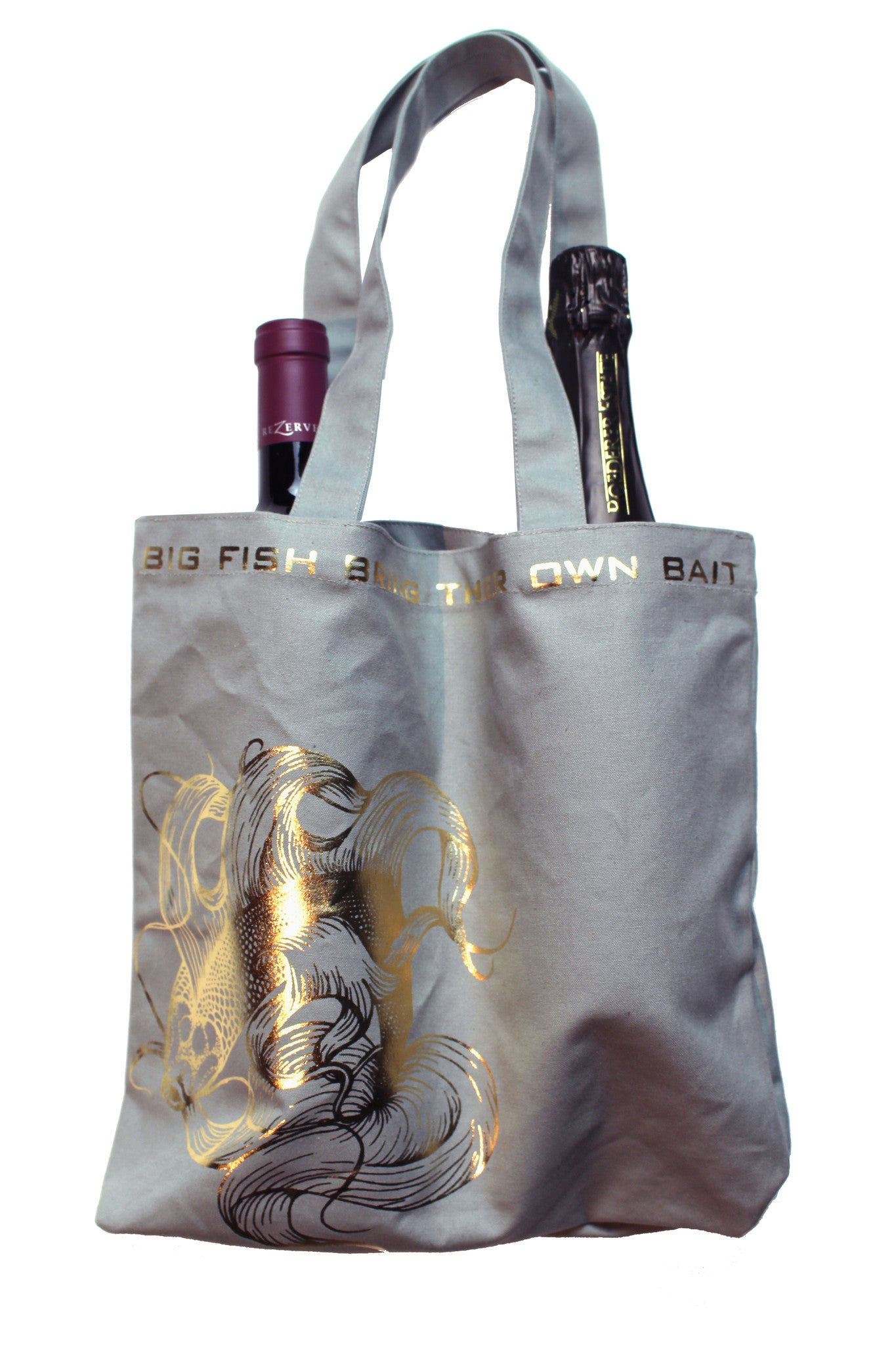"Gold Koi ""Big Fish Bring Their Own Bait"" Double Wine or Market Tote"