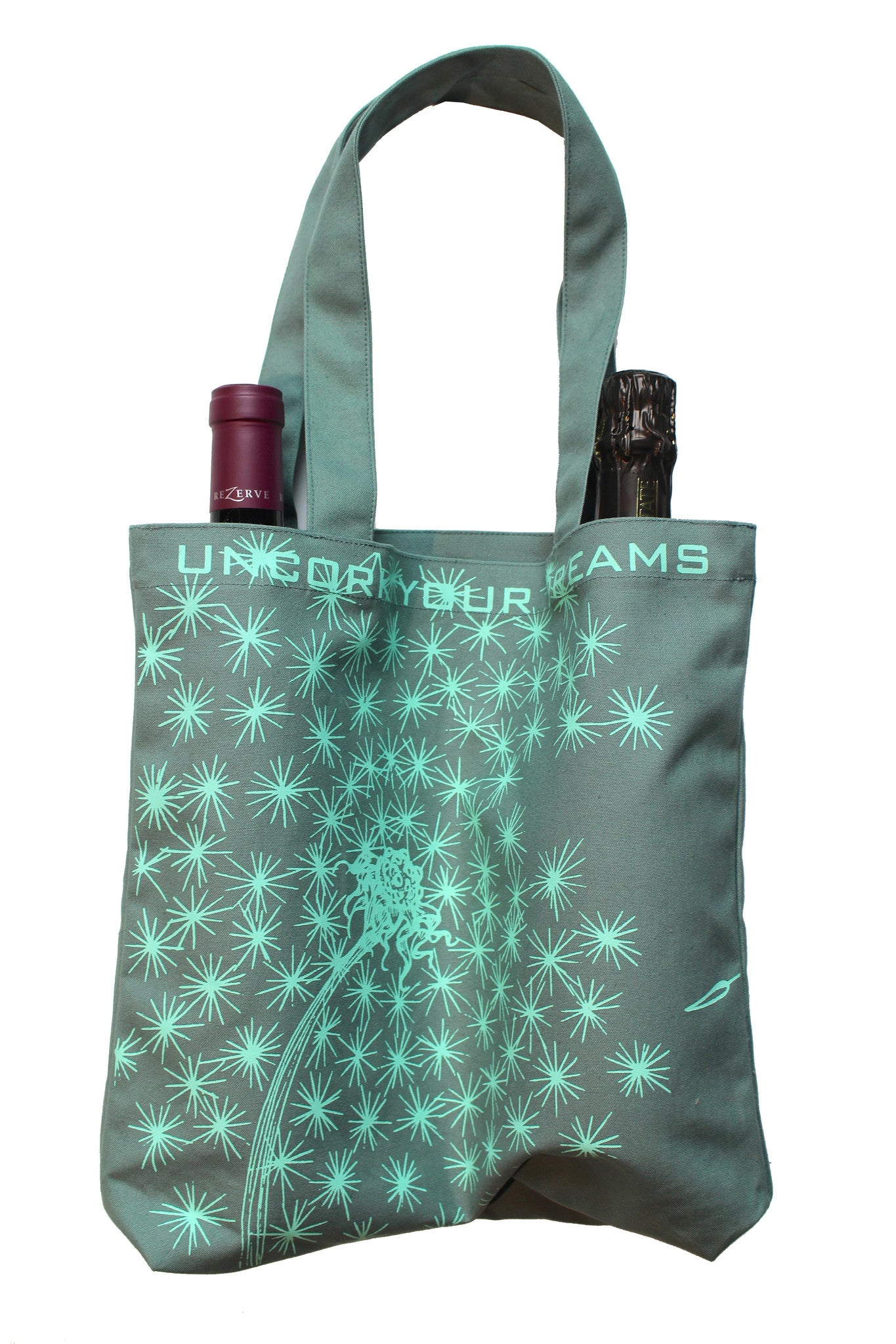 "Sea Glass ""Uncork Your Dreams"" Double Wine or Market Tote"