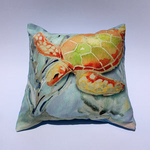 Sea Turtle Coral Pillow Cover