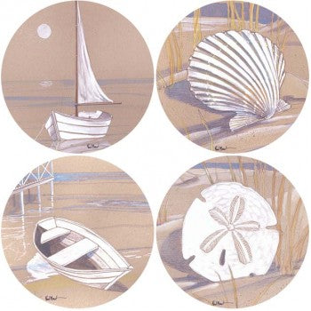 Boats & Shells by Paul Brent Set of Four Coasterstones