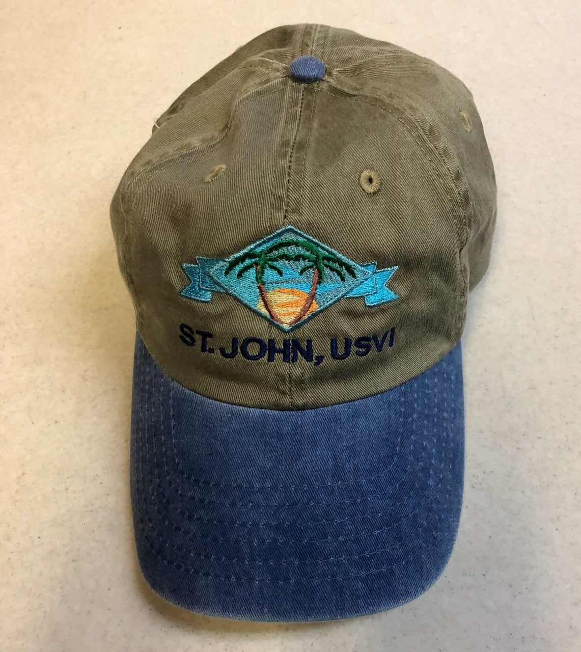 St. John Baseball Cap with Palm Trees, Olive and Indigo Blue