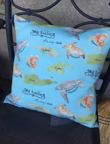 Sea Turtle Poster Pattern Pillow Cover
