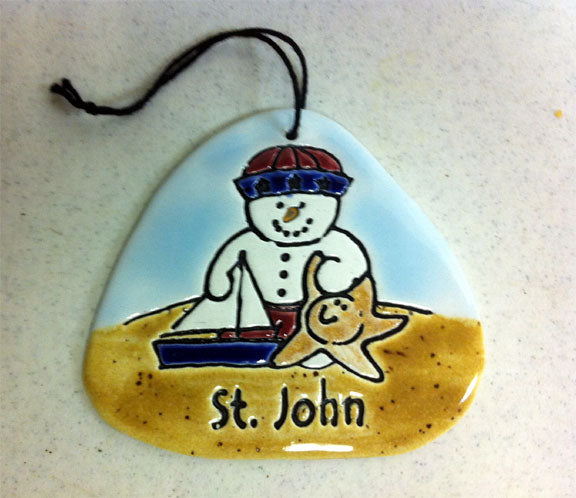 Snowman with Starfish & Sailboat Handcrafted Ceramic Ornament