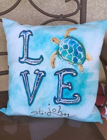 Sea Turtle Love Pillow Cover