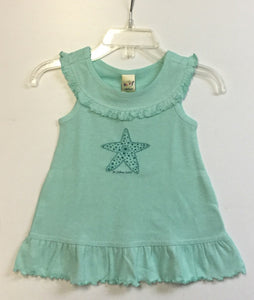 St. John USVI Green Starfish Ruffle Dress