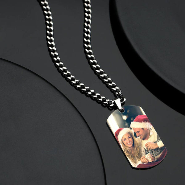 Men's Photo Tag Necklace With Engraving Stainless Steel