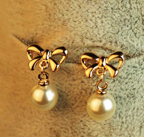 Allergy-Free Heart Zircon Ear Pins Bowknot Pearl Earrings for Women Pendiente Eardrop Rose Gold Earrings Fashion Jewelry