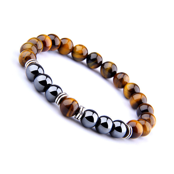 Explosion Style Yellow Tiger Eye Bracelet Fashion Simple Obsidian Alloy Separator Elastic Bracelet