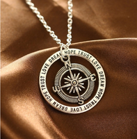 Love hope faith dream compass simple creative pendant valentine gift necklace