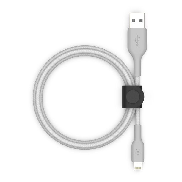 Belkin BOOSTCHARGE USB A Cable with Lightning Connector + Strap, Silver, 5 ft