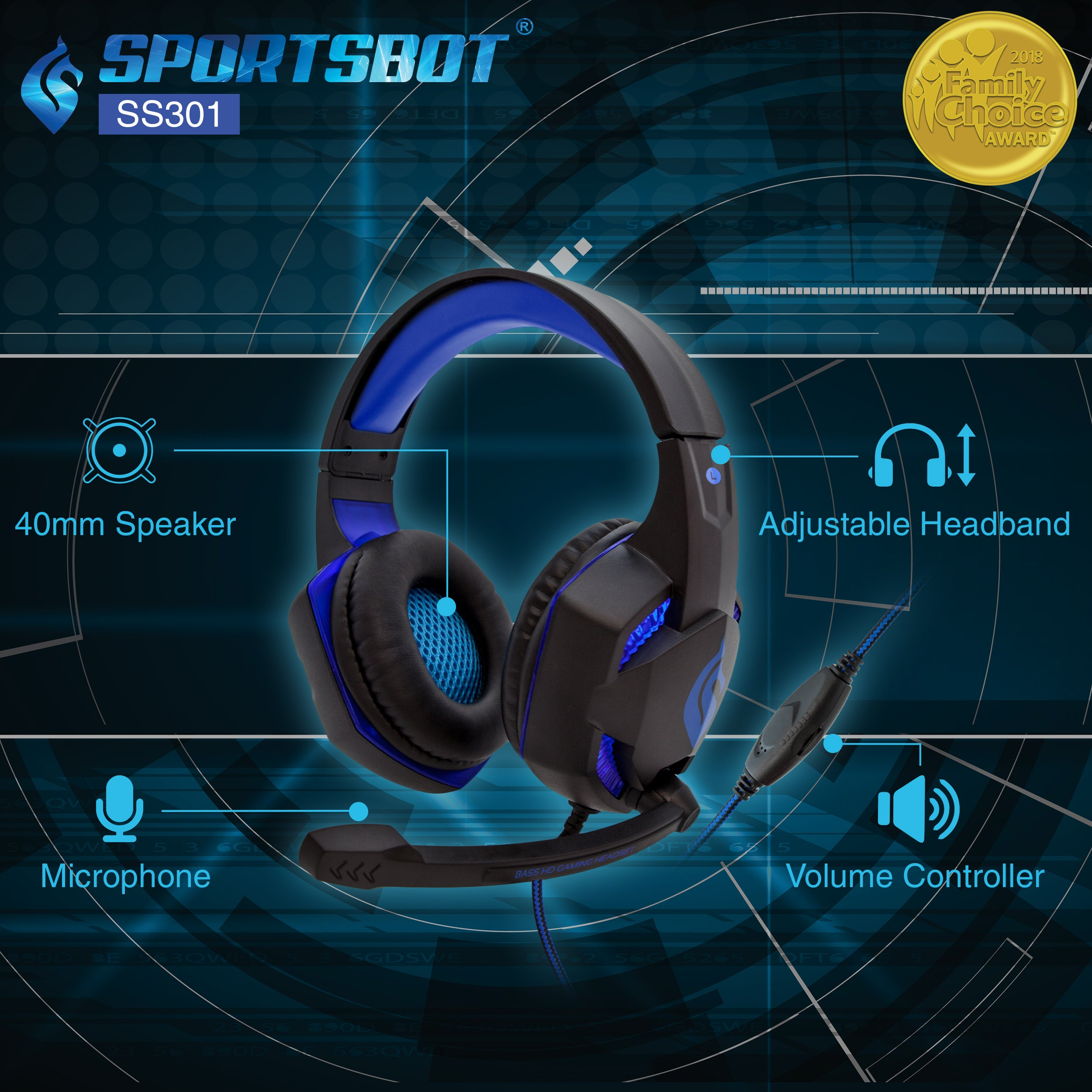 SportsBot blue led gaming keyboard,mouse and over ear headphone combo