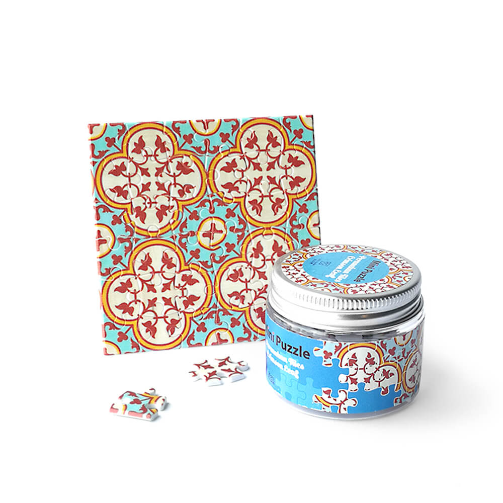 Mini Puzzle Coaster: Peranakan Tiles Crimson Leaf