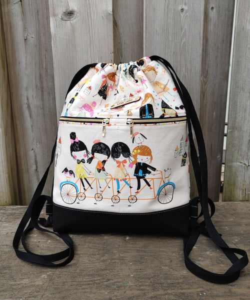 Drawstring Backpack in Bicycling Girls print